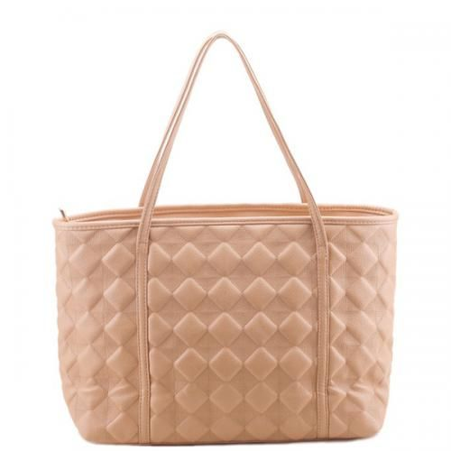 Apricot Faux Leather Quilted Design Shoulder Bag