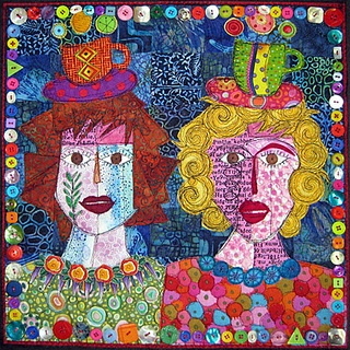 Soul Sisters by Jamie Fingal, seen on her Twisted Sister blog: Art Idea, Art Quilter, Blog Art, Twists Sisters, Jamie Fingal, Auction Quilts, Art Quilts, Art Textiles, Soul Sisters