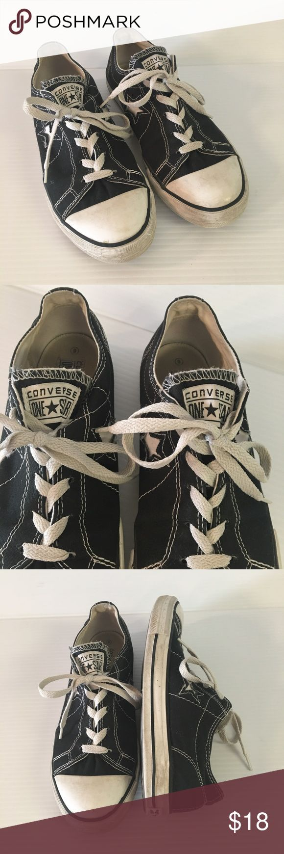 Converse One Star Shoes Junior Womens SZ 6 Black Converse One Star Shoes Junior Womens Size 6 Black Canvas Lace Up Low Top  In good pre-owned condition. Converse Shoes Sneakers
