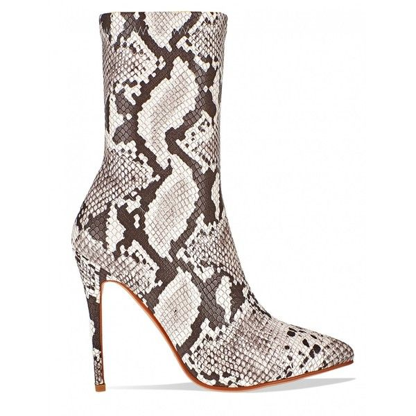 Complicated Stiletto Ankle Boots In Nude Snake PU ($53) ❤ liked on Polyvore featuring shoes, boots, ankle booties, nude boots, snake boots, ankle boots, stiletto ankle boots and short boots