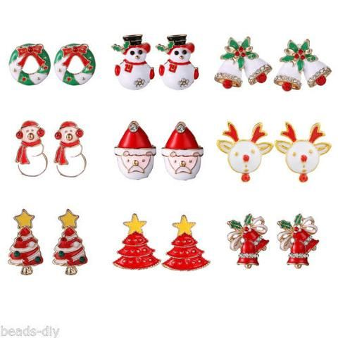 9Pairs Christmas Fashion Handmade Gold Plated Ear Sted Earrings XMAS Gift