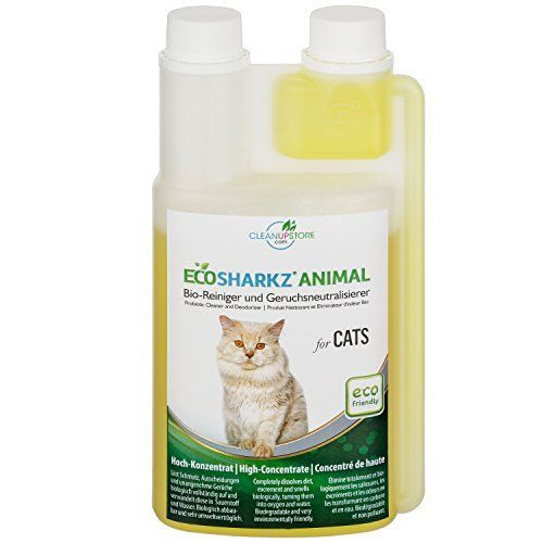 From 24.97:Best Cat Urine Remover - Cleans Litter Tray: Ecosharkz ANIMAL for CATS Probiotic Cleaner and Deodorizer for Cats (500ml Concentrate yields 25 Litres Ready to Use) #CatSprayingOdorRemoval