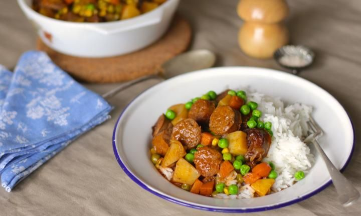 These yummy curried sausages are a classic that the whole family will love. It's a great budget meal that's quick and easy enough to whip up midweek.