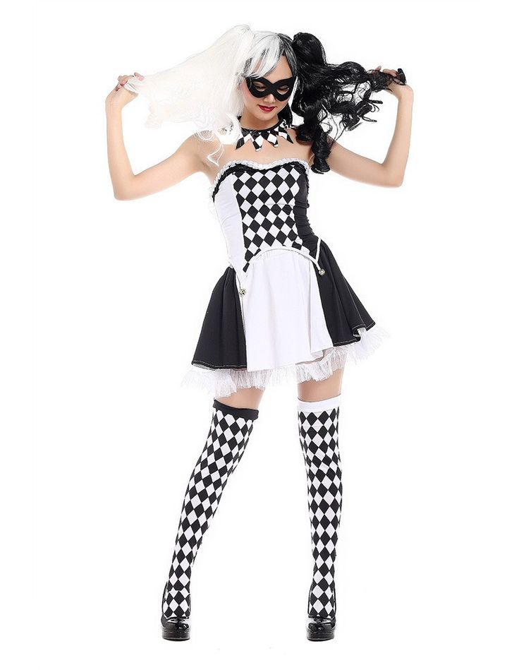 Product Code: MHC0230069 Package included: mask,neck ring, top and skirt Gender: Female Age Group: Adult Color:black and white Pattern: Clown Costume Material: Polyester Fiber 2016 the latest Hallowee