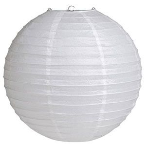 20041085 - White Lantern Lantern White Solid Colour (30cm) Round. Please note: approx. 14 day delivery time.