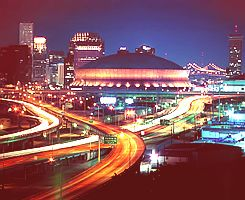Superdome at night in New Orleans.