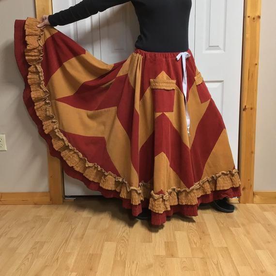 1c73ebd7c Hippie Skirt Plus Size XL-1X-2X-3X, Long Prairie Skirt with Pockets, Patchwork  Corduroy Skirt, Winter Woman's Clothes, Chevron Ruffled Skirt