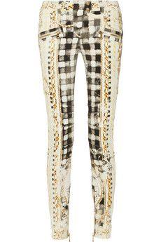 Balmain Bedruckte tief sitzende Skinny Jeans | NET-A-PORTER