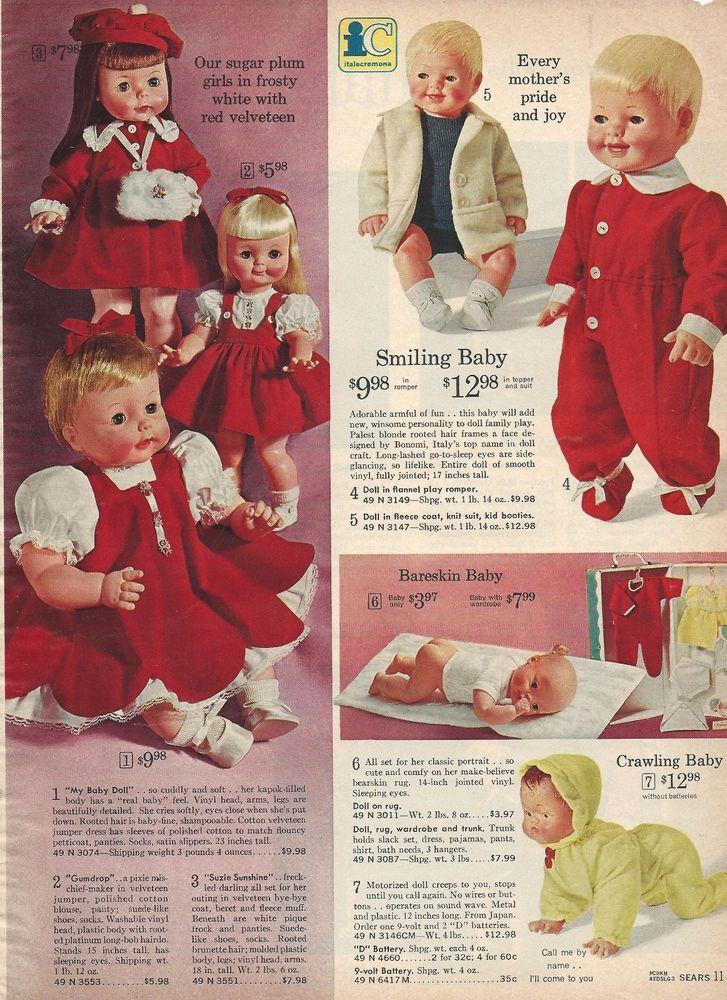 1964 Sears Christmas Wish Book Catalog Page Bareskin Baby