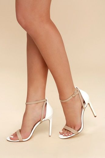 5a1eda8244d ... Lace Up Sandals. Sila White and Nude Snake Ankle Strap Heels 6