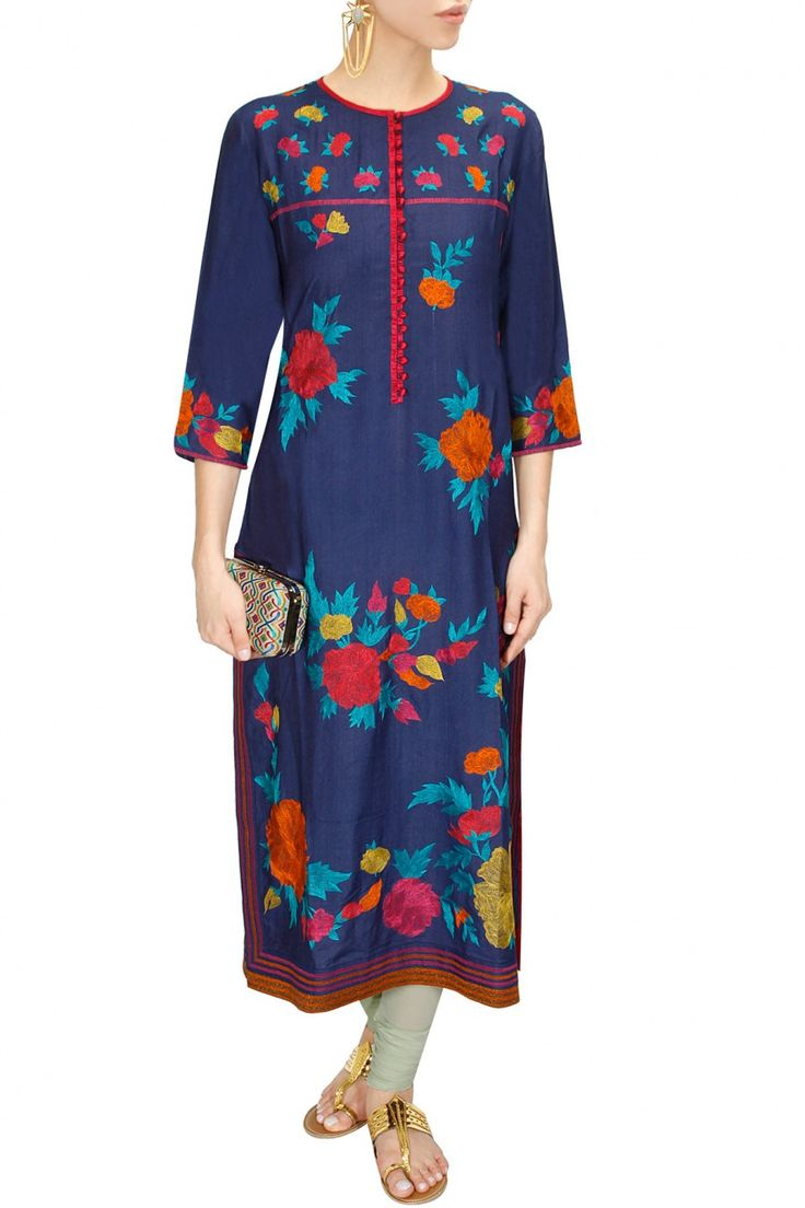 Blue long floral embroidered kurta available only at Pernia's Pop-Up Shop.