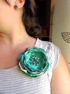 Emerald Mint Jade Green Fabric Flower Pin by InspiredGreetingsAD