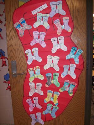 Fox in Socks - After reading this book we talked about what Synonyms are.  The students then wrote a pair of synonyms on their pair of socks and illustrated what the words mean.