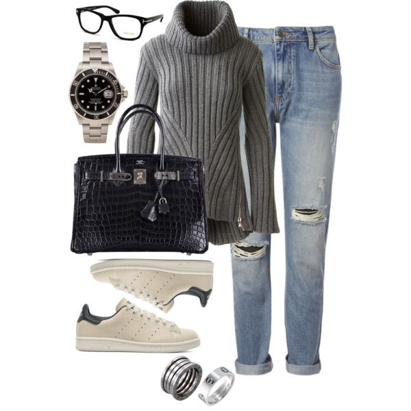 Casual | Alexander McQueen sweater, Whistles jeans, Hermès handbag, Adidas sneakers, Bulgari and Cartier rings, Rolex watch, Tom Ford eyeglasses