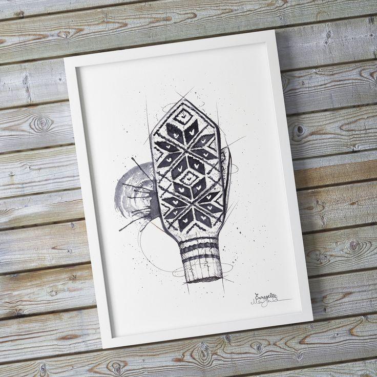 """Selbuvott"" (Norwegian mitten) Copyright: Emmeselle.no Illustration by Mona Stenseth Larsen"