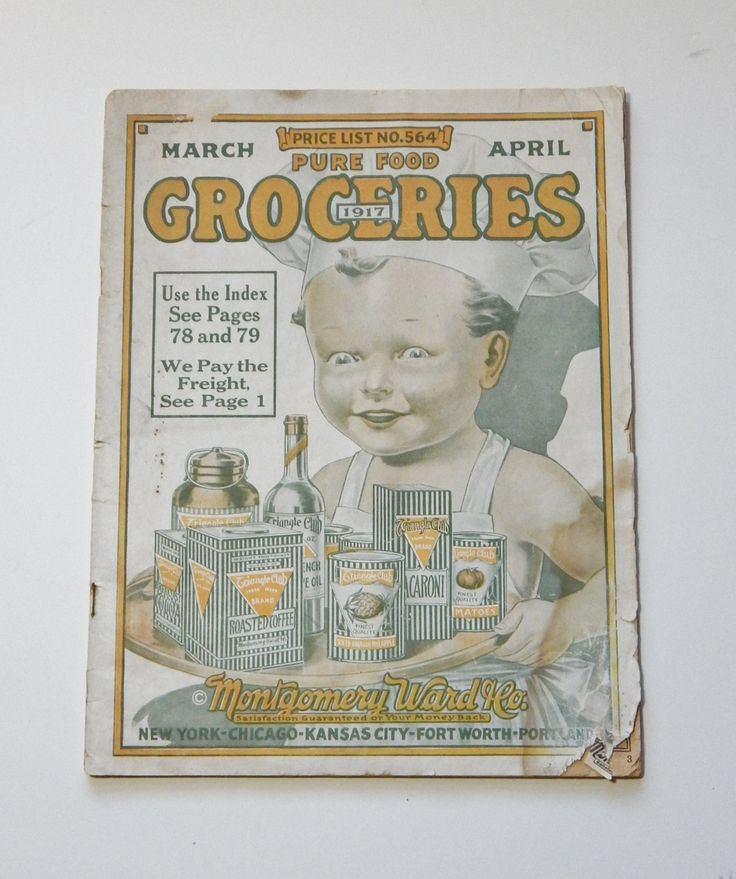 Antique Grocery Ephemera Vintage Montgomery Ward Groceries Catalog 1917 Cherub Baby Baker Cover Antique Food Advertising & Fashion Ads by OffbeatAvenue on Etsy