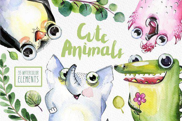 Cute Animals  by Alina-Sh on @creativemarket