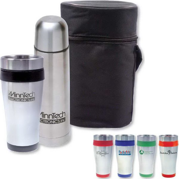 Set off on your next great marketing campaign with our Junior Day Tripper Gift Set. The package includes a 17 oz Thermo-Go bottle and a Cornado Tumbler - both come in a black carrying case. Perfect for family camping trips and group picnics! Customize the cups with a one-color imprint of your company name and logo, and hand out at conventions and tradeshows! Also makes a nice gift for clients and employees. BPA free!