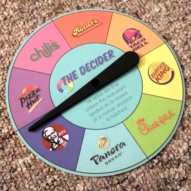 For when your girl can decide what she wants to eat spin and it will decide for you!!
