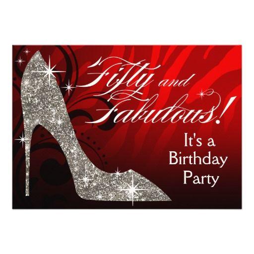 50 Fabulous Graphic: Glitter Stiletto Zebra 50 & Fabulous Birthday Red Card