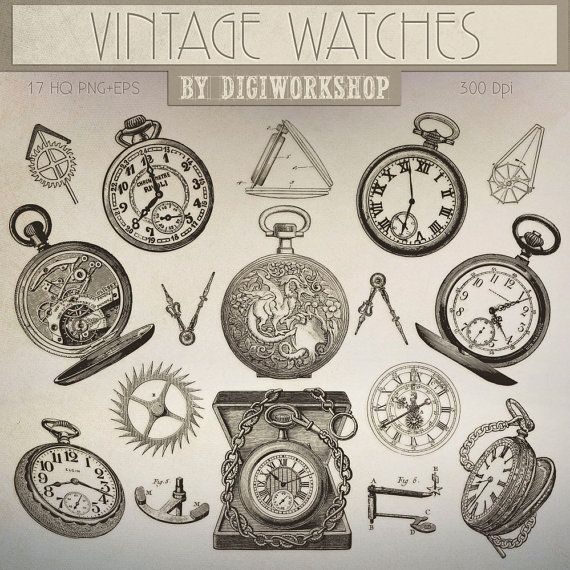 #Watch Clip Art #Clipart with vintage images of of pocket watch and clockworks  This vintage clip art contains 17 different antique pocket watch, very suitable for cards, inv... #etsy #digiworkshop #scrapbooking #illustration #creative #clipart #printables #cardmaking #watch #watches #clockworks