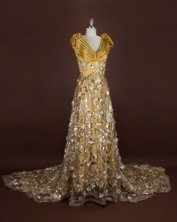 Gold Haute Couture Evening Gown Gala or Wedding Dress
