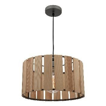 STIRLING - Modern Natural Timber Pendant With Grey Painted Frame (Globe Not Included)