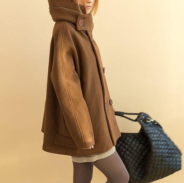 Giacche invernali - Donne Cappotto Brown di maglia con cappuccio - un prodotto unico di camilleyuxi su DaWanda