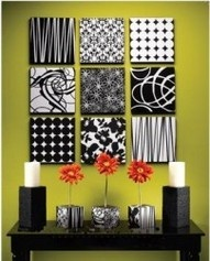 Wall decor using canvas squares and scrapbook paper