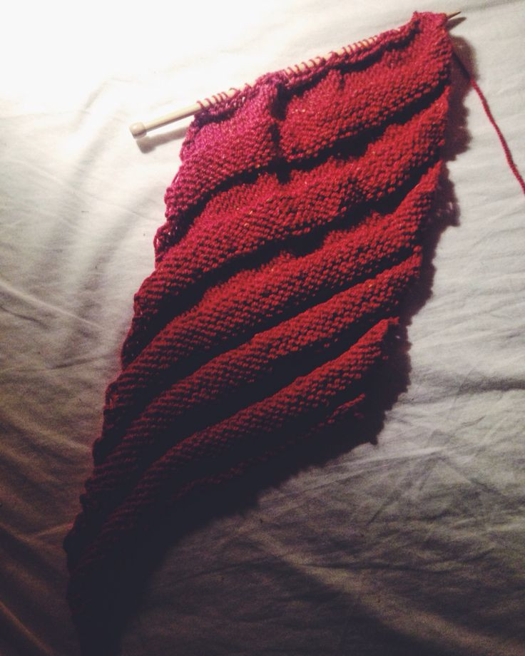 In progress: swirl ski cap. Practising picking up and double knit stitches