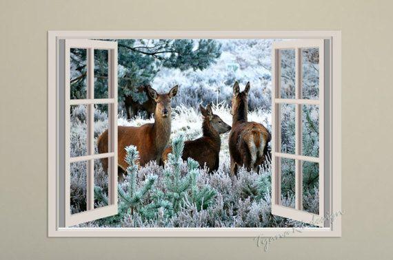 Deer print Window view Animal print Woodland animals by TyanaRt