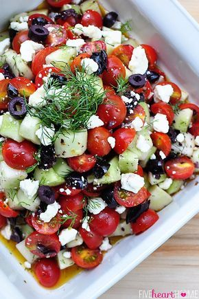Tomato Cucumber Salad with Olives and Feta   This salad is as tasty as it is beautiful, and I think it would make a lovely addition to your next summer meal or celebration. And pssst…here's one last little hint. Toss it with some cooked corkscrew pasta and turn it into a Tomato Cucumber PASTA Salad with Olives and Feta   Yum!   fivehearthome.com
