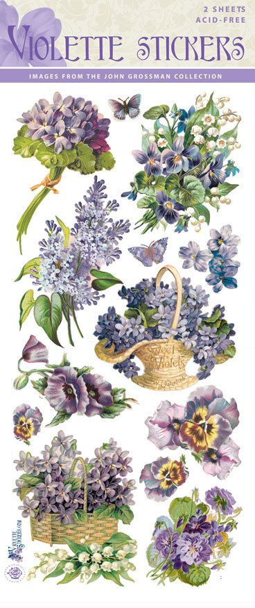 Beautiful Vintage Violette Flower Stickers for Crafting-2 sheets