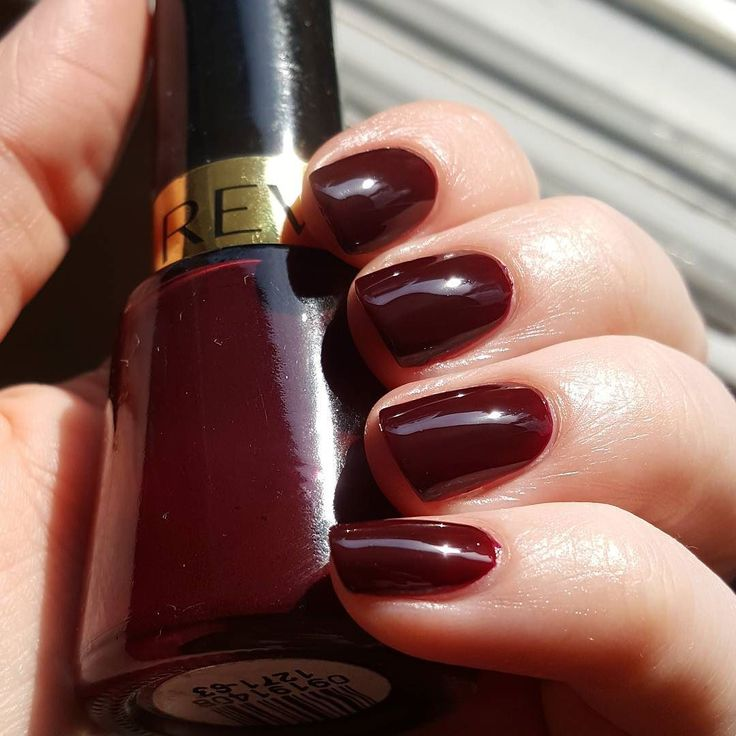 """Quick new manicure using one of the polishes I'm currently trying to use up Revlon - """"Vixen"""". I've used up a little over a third at this point. I used to love it so much years ago all the writing on the bottle has rubbed off haha. Since then I've found plenty other vampy shades with better formulas though.. #nails #nailpolish #nailvarnish #notd #manicure #nailporn #nubs #revlon #vixen #projectpolish by nailsbyankali"""