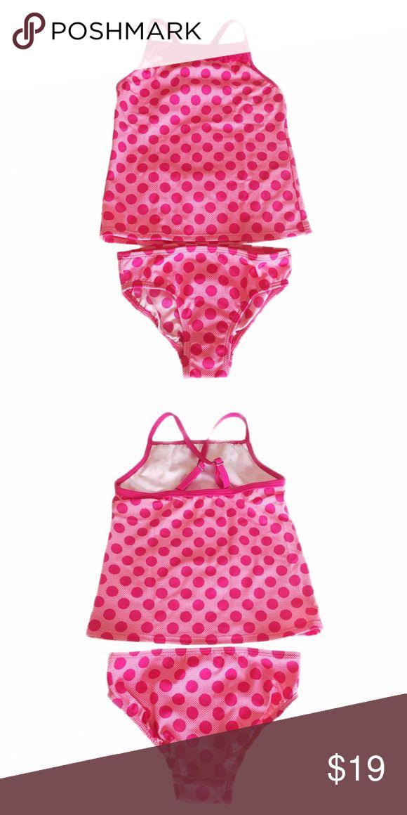 Size 5 5T 4 4T Lands End tankini pink polka dot New in packaging (direct from their website, did not come with attached tags but in a sealed plastic bag). Adjustable straps. Pink polka dot tankini from Lands End! Lands' End Swim Bikinis
