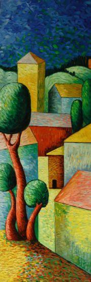 Cuadros abstractos, cuadros modernos con paisajes abstractos, I-Aldea en color