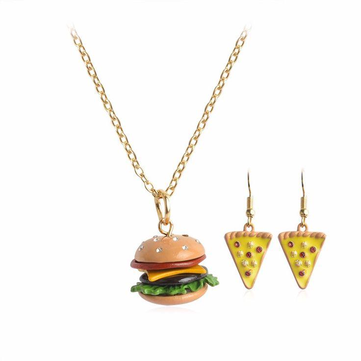 Hamburger and Cheese Pizza Pendant Set Miniature Food Jewelry
