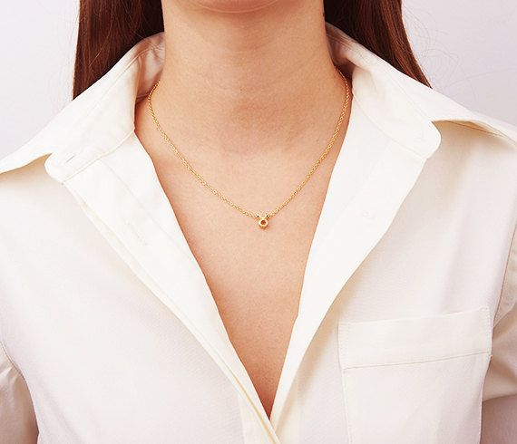 Gold Zodiac Necklace Personalized Gifts Zodiac by HLcollection