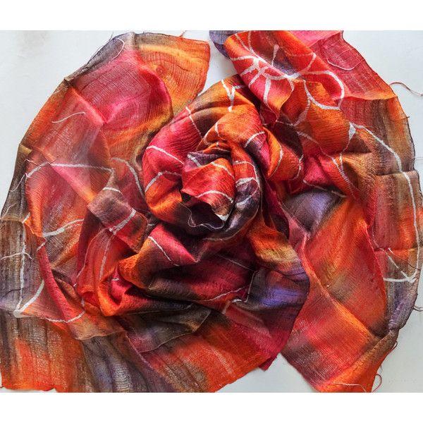 Orange Silk Shawl Hand Dyed Handwoven Batik Handmade Wedding Gift Wedding Accessories Light Weight Silk Shawl Natural Pure Raw Silk For Her (€25) found on Polyvore featuring women's fashion, accessories, scarves, silk shawl, batik scarves, orange scarves, lightweight scarves and light weight scarves