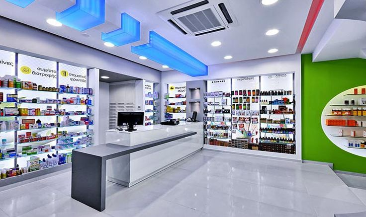net decoration study construction pharmacy design and equipment in alikarnasos in heraklion crete owned by menegaki - Pharmacy Design Ideas