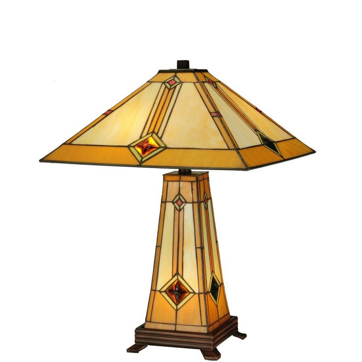23 Inch H Diamond Mission Lighted Base Table Lamp