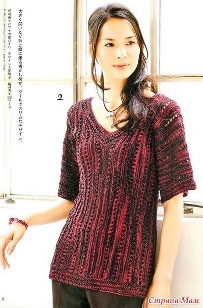 Оригинальный цельнокроенный пуловер с треугольными вырезами по переду и спинке. Спицы.