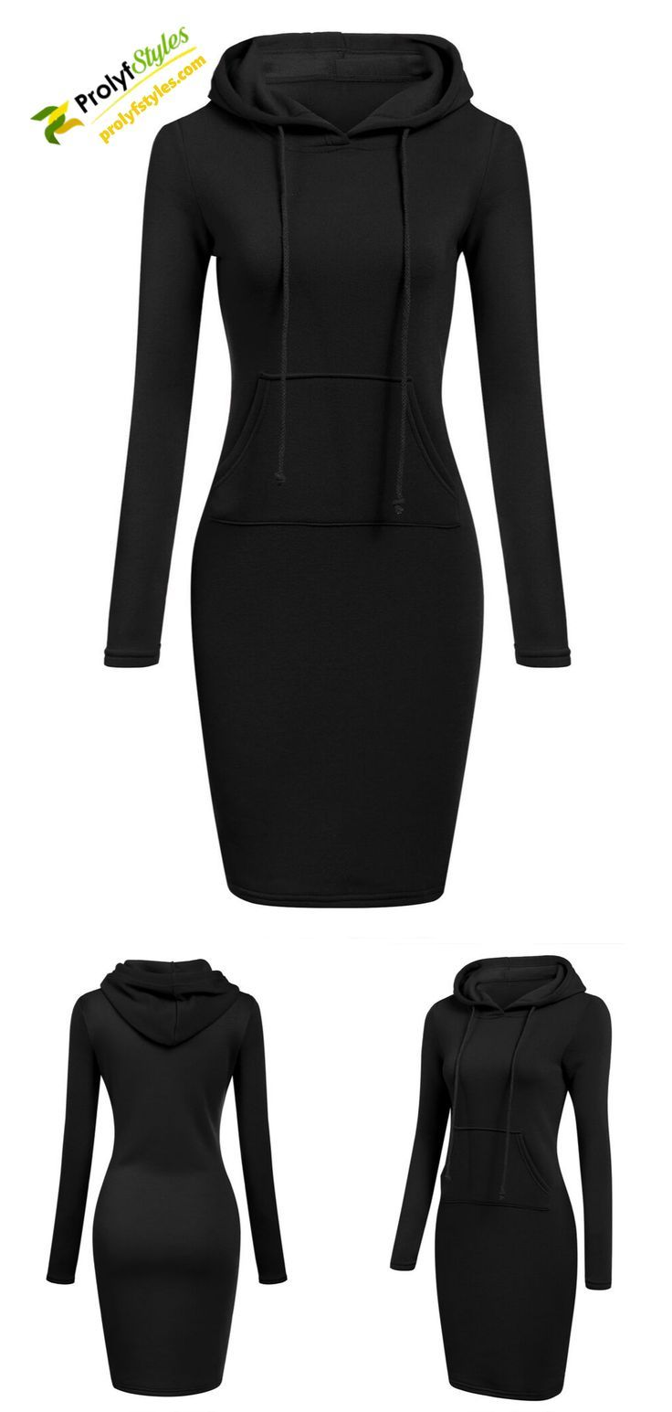 Long Sleeve Hoodie Dress Casual Work Attire Hoodie Dress Casual Winter Outfits [ 1545 x 736 Pixel ]