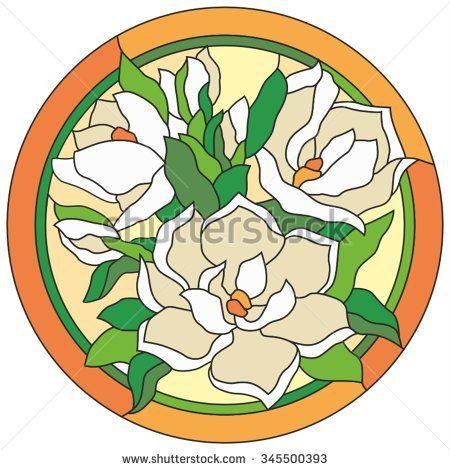 Чайная роза в витражном стекле - декор для круглого потолка