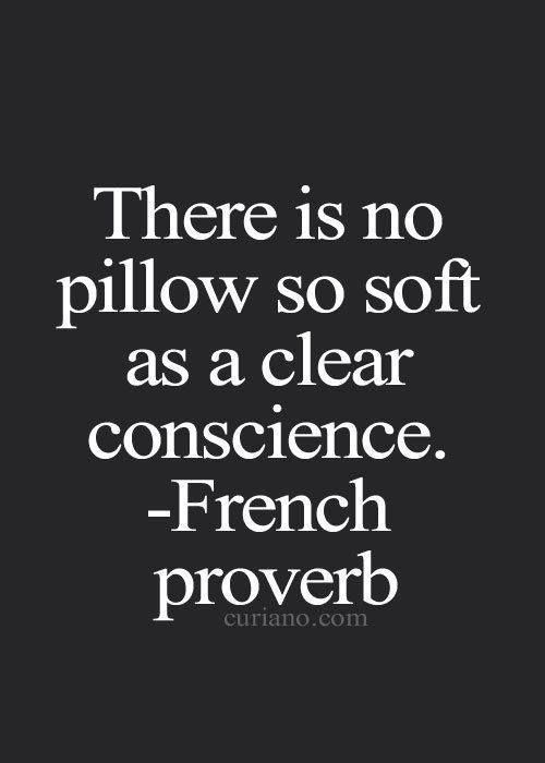 There is no pillow so soft as a clear conscience. ~French proverb.