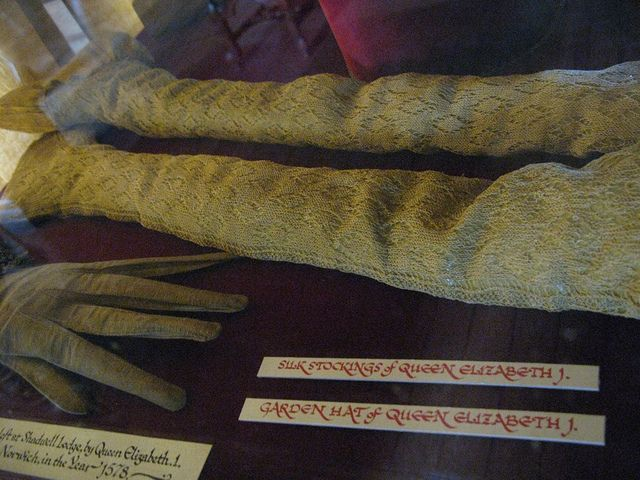 Queen Elizabeth I's Knitted Lace Silk Stockings in the Hatfield House Museum. Image by QunoSpotter, via Flickr.