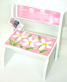 Personalized Step Stool ~ Daisy ~ A hand painted wooden step stool/chair that is perfect for little ones to stand on to wash hands, brush teeth, etc; personalized with first name to make a unique, treasured baby gift.  $58.95 from ivyrosegifts.com