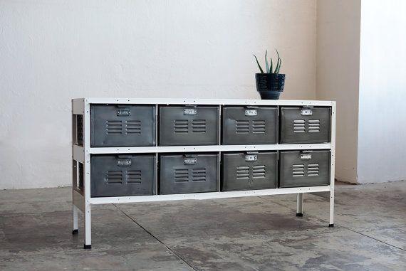 4 x 2 Vintage Locker Basket Unit with Natural Steel Bins and White Frame