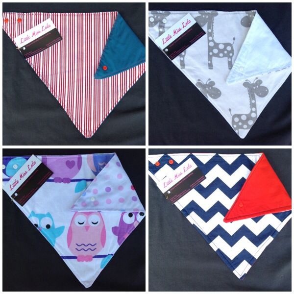 Reversible bandana bibs with bamboo inner. Many designs & colours to choose from. Go to www.facebook.com/littlemisslolas to see more & read why bamboo is so great!