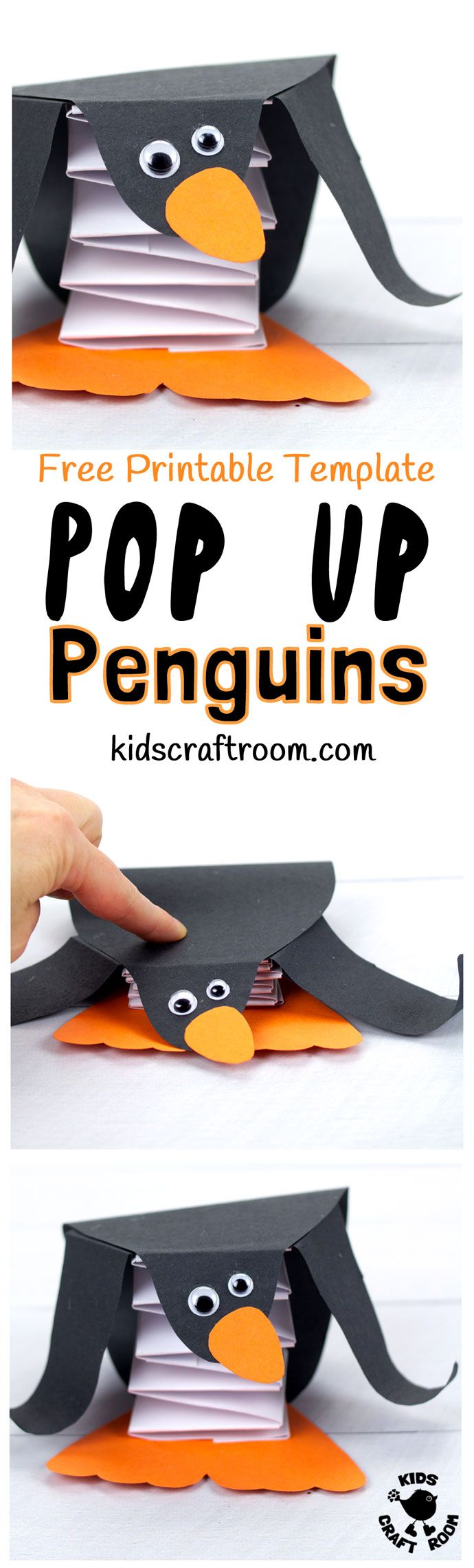 POP UP PENGUIN CRAFT - Use our free printable template to make the cutest DIY penguin toys that actually bounce up and down! Push the homemade penguins down and they pop right back up and wobble adorably! They are the cheekiest and most fun penguins around!